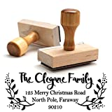Traditional Wooden Handle Christmas Style Return Address Custom Personalized Address Large 4 Lines Professional Wedding Gift Invitation Branding