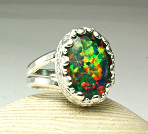 (Sterling Silver Rainbow Fire Opal Cocktail Ring Chunky Oval Stone)