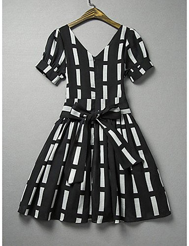 PU&PU Robe Aux femmes Gaine Simple,Damier Col Arrondi Au dessus du genou Polyester , white-xl , white-xl