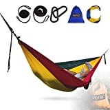 Serac [Durable Hammock & Strap Bundle] Classic Portable Single Camping Hammock with Suspension System – Perfect for The Backpack, Travel and Camping (Irie Red/Yellow/Green)