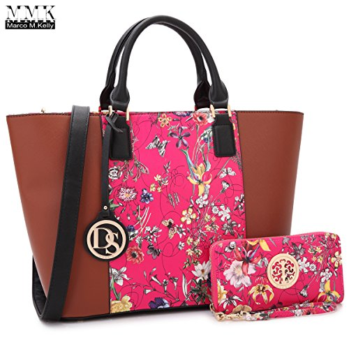 MMK Collection Two tone Designer Handbags for women~ Large Fashion Purses & Handbags~ Beautiful Tote Style(6417) with Free Wallet~Perfect handbag set for Her (6417-Brown/Fuchsia Flower)