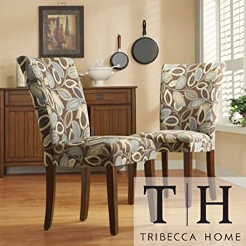 Home Leaf Print Accent Parson Side Chairs Set of 2 . These accent chairs can add interest to a bland living room or dining room. Leaf print pattern with mocha, navy, blue, and beige is sure to delight.