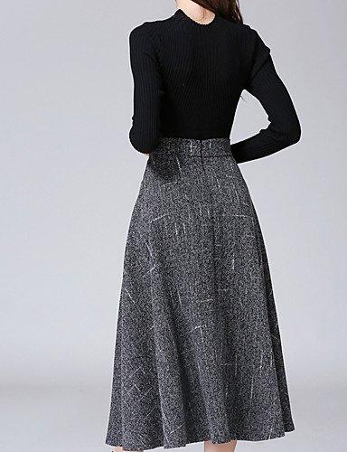 Mujer Faldas,Línea A Un ColorSencillo Tiro Medio Casual/Diario Midi Cremallera Poliéster Micro-elástica Otoño / Invierno , xl