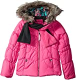 London Fog Big Girls' Puffer Jacket with Accessory, Poppy Shock/Grey Scarf, 10/12