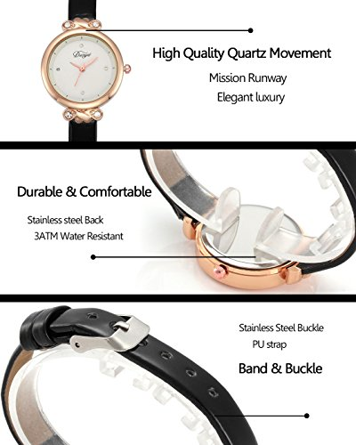 Top Plaza Women Fashion Watches Leather Band Luxury Analog Quartz Watches Girls Ladies Wristwatch - White by Top Plaza (Image #3)'