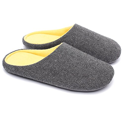 Ofoot Mens & Womens Cotton Fabric Terry Lining Memory Foam Slip On House Slippers Black