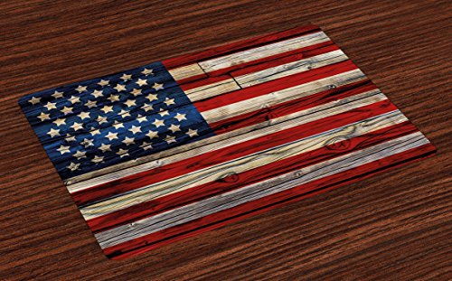 Ambesonne 4th of July Place Mats Set of 4, Wooden Planks Painted as United States Flag Patriotic Country Style, Washable Fabric Placemats for Dining Room Kitchen Table Decor, Red Beige