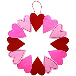 Pink and Red Felt Valentine's Day Hearts Hanging Wreath