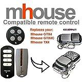 Mhouse GTX4 / Mhouse GTX4C / Mhouse TX4 Compatible Télécommande. 433.92Mhz rolling code Mhouse replacement remote control