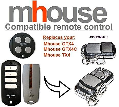Mhouse GTX4/C Mhouse TX4/Compatible Mando a distancia transmisor 433,92/mhz distancia de repuesto para Alta calidad. MHOUSE GTX4