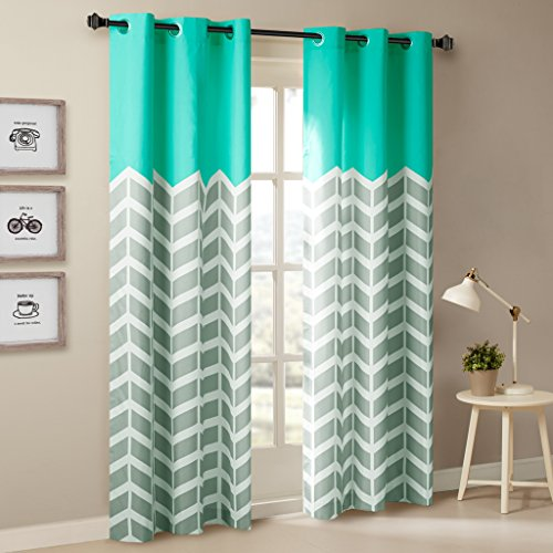 Intelligent Design Aqua Curtains for Living Room, Modern Contemporary Grommet Room Darkening Curtains for Bedroom, Alex Geometric Chevron Window Curtains, 42X84, 2-Panel Pack (Coral And Aqua Bedroom)
