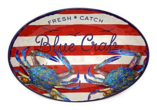 Coastal Living Seascapes Fresh Catch Blue Crab Red Stripe Oval Melamine Serving Platter, 18-Inch x 14-Inch
