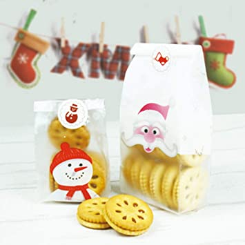 christmas cellophane bags100 pcs snowmansanta clause gift treat pouch for cookie