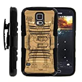 TurtleArmor | Compatible for Samsung Galaxy S5 Case | G900 | I9600 [Hyper Shock] Armor Rugged Hybrid Cover Kickstand Impact Silicone Belt Clip Holster Robot Android Design - Robot Diagram