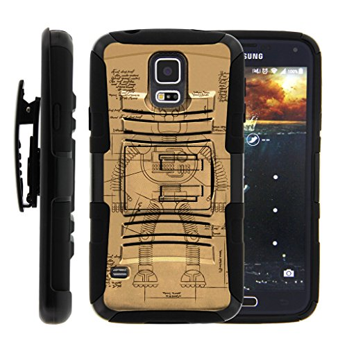 TurtleArmor | Compatible for Samsung Galaxy S5 Case | G900 | I9600 [Hyper Shock] Armor Rugged Hybrid Cover Kickstand Impact Silicone Belt Clip Holster Robot Android Design - Robot Diagram by TurtleArmor