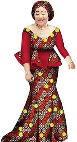 323f690ded7 African Prom Dress for Women 2Piece O-Neck Dashiki Cotton Wax Print Skirt  Set