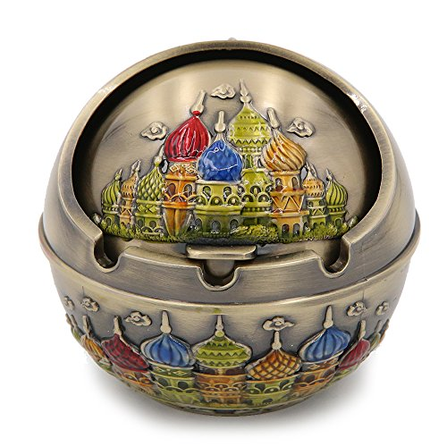 Apol Ancient Vintage Colorful Castle Spherical Pattern Metal Ashtray with Lid,Cigar Cigarette Ash Holder Case for Home Office Tabletop Decoration Men Dad Gift (Brass) ()