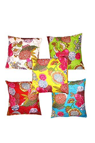 Indian Ethnic Bohemian Set of 5 Decorative Colorful Cotton Square for Sofa Set Home Decorative Fruit Design Boho Throw Pillow Case Kantha Cushion Cover 16x16 ()