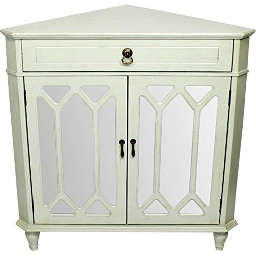Contemporary Collection Cabinet (Heather Ann Creations The Dorset Collection Contemporary Style Wooden Double Door Floor Storage Living Room Corner Cabinet with Hexagonal Mirror Inserts and 1-Drawer, Light Sage)