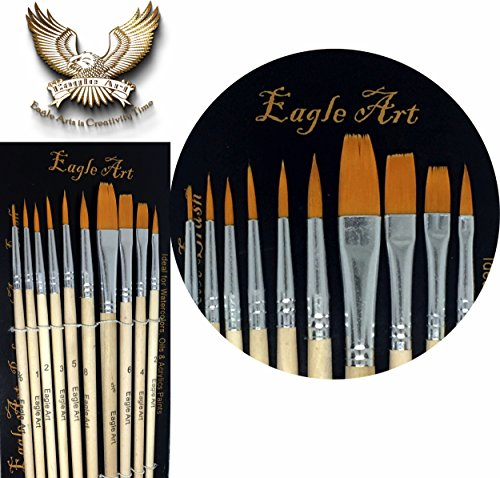 Eagle Art Artist Pointed-Round Paintbrush Set | 10 Pieces Round Pointed Tip | Artist Detail Paint Brushes Set for Fine Detail & Art Painting, Acrylic Watercolor Oil, Nail Art, Miniature, - Tips Face Oval