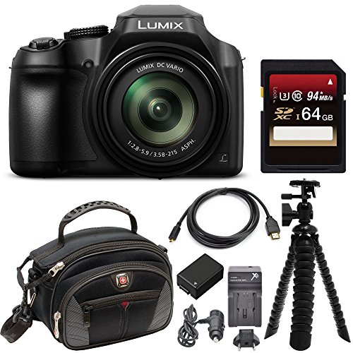 Panasonic Super Zoom Camera - Panasonic LUMIX FZ80 4K Long Zoom Camera (18.1 Megapixels, 60X 20-1200mm Lens) + 64GB Deluxe Accessory Bundle