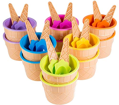 Jukkre Plastic Ice Cream Tool Cup with Spoon