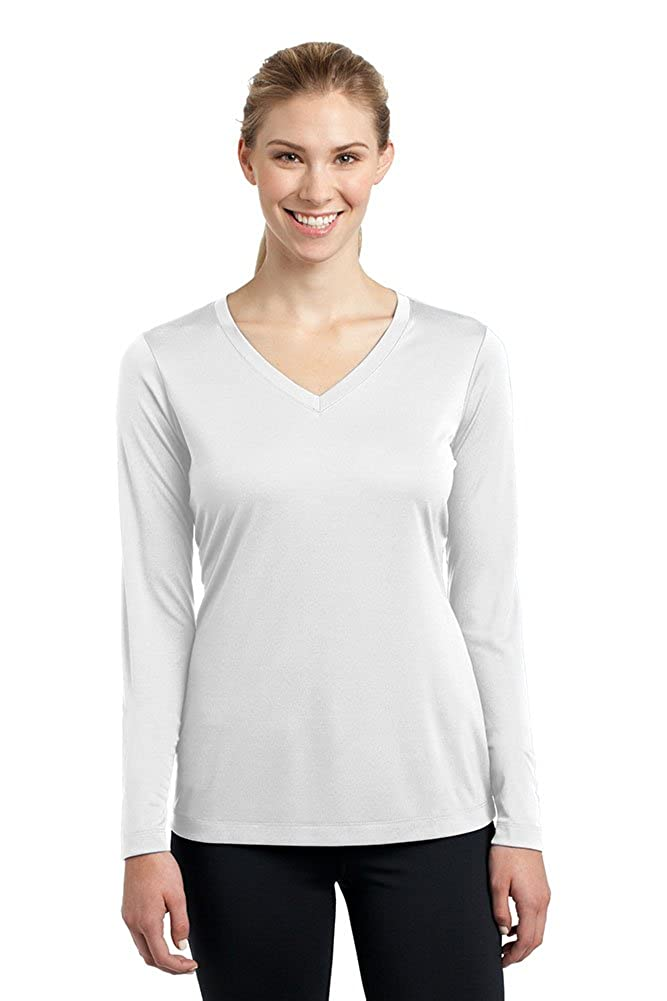 White DriWick Women's Sport Performance Moisture Wicking Athletic Long Sleeve Shirt