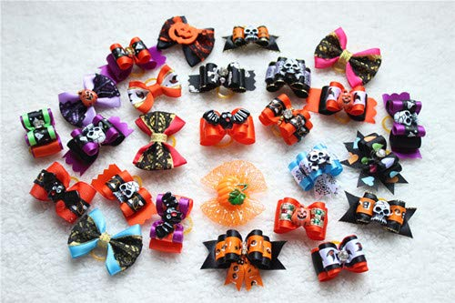 (HAVIPRO 10PCS/5pairs Halloween Design Dog Pet Hair Bows Pet Bows for Holidays Dog Cat Pet Festival Grooming Charms)
