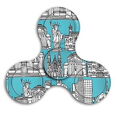 New York Buildings(8019) Fingertip Gyro EDC Tri Spinner Stress Reducer Relieve Anxiety For Children & Adults