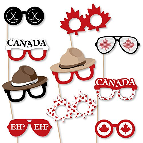 Canada Day Glasses - Paper Card Stock Canadian Party Photo Booth Props Kit - 10 ()