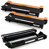 3-Pack LINKYO Replacement Toner and Drum Set for Brother TN660 TN-660 TN630 DR630 (2 High Yield Black Toner, 1 High Yield Black Drum)
