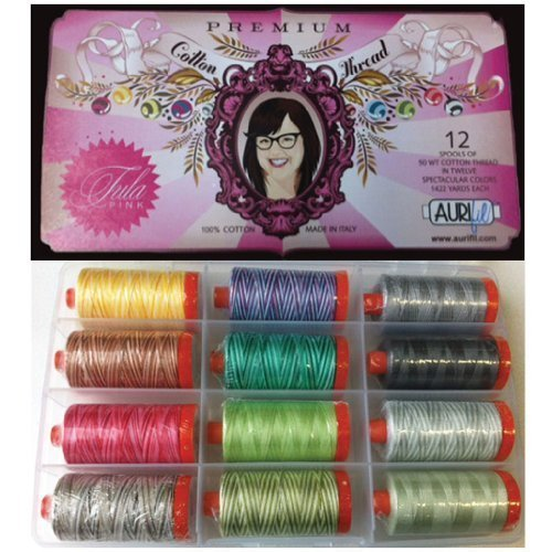 Tula Pink Premium Collection Aurifil Thread Kit 12 Large Spools 50 Weight TP50TP12 by Aurifil