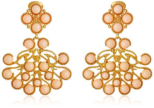 Kenneth Jay Lane Gold and Angel Skin Cabochon Clip-On Earrings