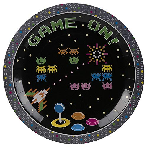 Price comparison product image Disposable Plates - 80-Pack 80s Themed 9-Inch Paper Plates,  80s Arcade Game Party Supplies,  Appetizer,  Lunch,  Dessert,  Game On Controller Design,  Black