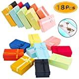 PRALB 18PCS Assorted Jewelry Gifts Boxes, Cardboard Ring Boxes with Padding Gifts Paper Boxes Jewelry Storage Cube Satin Ribbons Bowknot (9 Colors, 3.15' x 1.97' x 0.98')