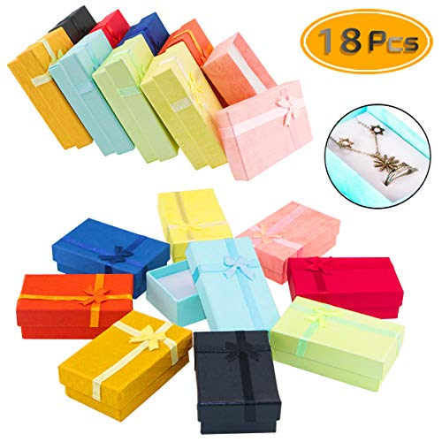 Decorative Boxes Wholesale (PRALB 18PCS Assorted Jewelry Gifts Boxes, Cardboard Ring Boxes with Padding Gifts Paper Boxes Jewelry Storage Cube Satin Ribbons Bowknot (9 Colors, 3.15