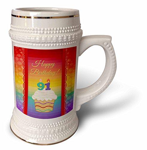 3dRose-Beverly-Turner-Birthday-Design-Cupcake-with-Number-Candles-91-Years-Old-Birthday-22oz-Stein-Mug