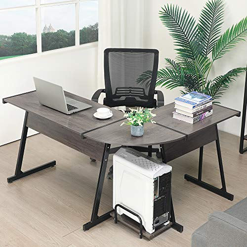 GreenForest Office Desk Corner L Shaped Workstation Laptop Table with Keyboard,Walnut by GreenForest (Image #4)