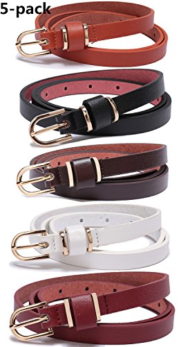 Set of 5 Women's Skinny Leather Belt Solid Color Waist or Hips Ornament 10 Sizes