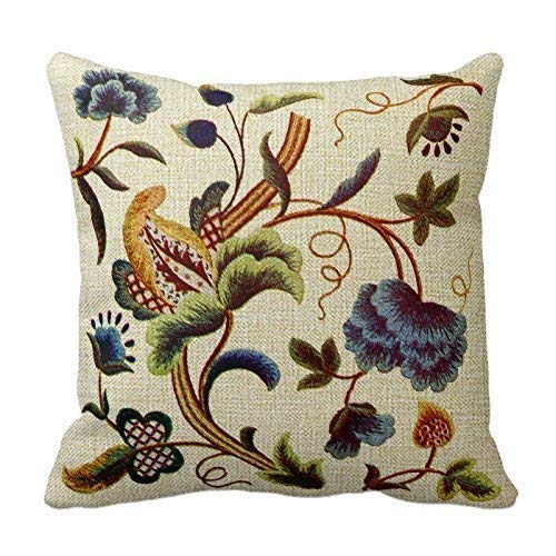 Bedding Crewel (XuLuo Blue Jacobean Crewel Embroidery Decoration Pillow Case Cushion Cover 18 x 18 inch)