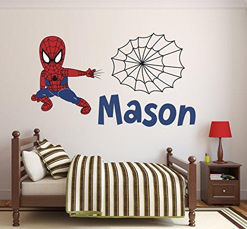 (Pinkie Penguin Custom Name Spiderman Wall Decal Baby Boy Kids Decor Personalized Nursery Gift Vinyl Art (32