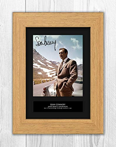 - Sean Connery - 007 - James Bond - Goldfinger 4 MT - Signed Autograph Reproduction Photo A4 Print(Oak Frame)
