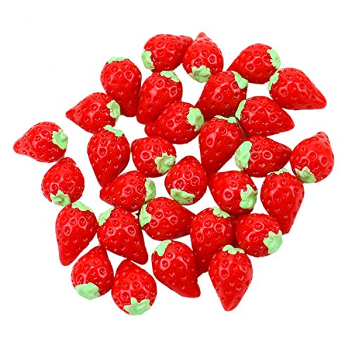 JETEHO 30 Pcs Resin Strawberry Fruit Slime Beads Slime Charms for Arts Crafts DIY Ornament Red