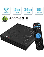 Android TV Box,T95 MAX Android 9.0 TV Box 2GB RAM/16GB ROM H6 Quad-Core Soporte 2.4Ghz WiFi 6K HDMI DLNA 3D Smart TV Box