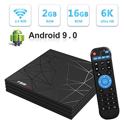 Sidiwen Android 9.0 TV Box T95 MAX Set Top Box 2GB RAM 16GB ROM Allwinner H6 Quad Core WiFi 2.4G Ethernet USB 3.0 Support 6K 4K Ultra HD H.265 Internet Media Player (Best Internet Tv Set)
