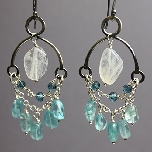 Apatite, Moonstone, and Quartz Chandelier Earrrings-Sterling Silver