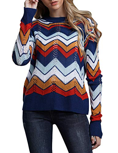 - Relipop Women's Pullover Jumper Crewneck Rainbow Color Striped Knit Sweater