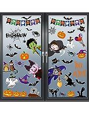 Tuopuda Halloween venster klampt herbruikbare stickers sticker cartoon Halloween griezelige stickers pompoen vleermuis schedel heks spin stickers set voor Halloween party decoratie