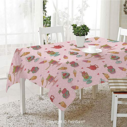 AmaUncle 3D Print Table Cloths Cover Retro Cupcakes Teapots Candies Cookies On Polka Dots Vintage Kitchen Print Kitchen Rectangular Table Cover (W60 xL104) ()
