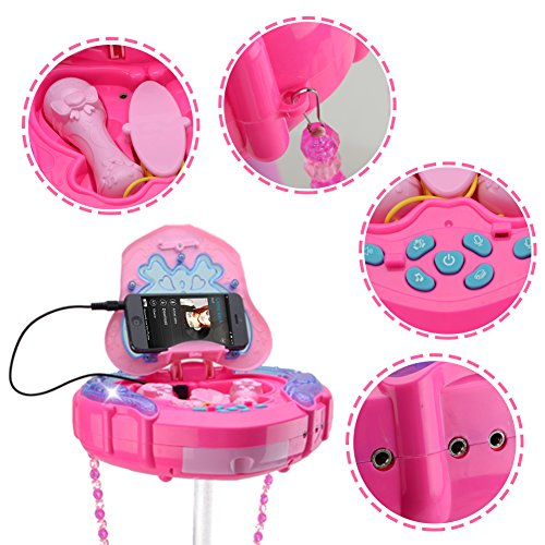 HANMUN Kids Karaoke Machine with 2 Microphones and Adjustable Stand,Music Sing Along with Flashing Stage Lights and for Fun Musical Effects,Pink by HANMUN (Image #2)